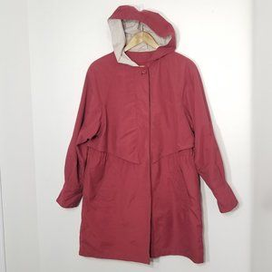 Utex   Red Hooded Trench Coat Jacket Vented Small